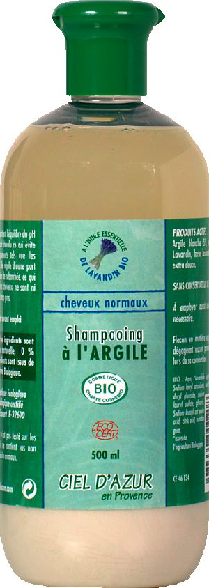 Shampooing cheveux normaux argile